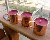 Set of 3 - Recycled Copper Mug Candles