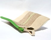 Cotton Cord Purse, Flat Handbag, Zippered Pouch, Made to order