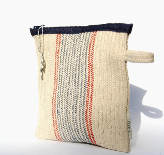 Cotton Cord Purse, Flat Handbag White, Blue and Red, Zippered Pouch, Made to order