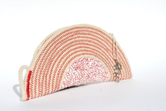 Cotton Cord Purse, Red and White Handbag, Zippered Pouch, Made to order