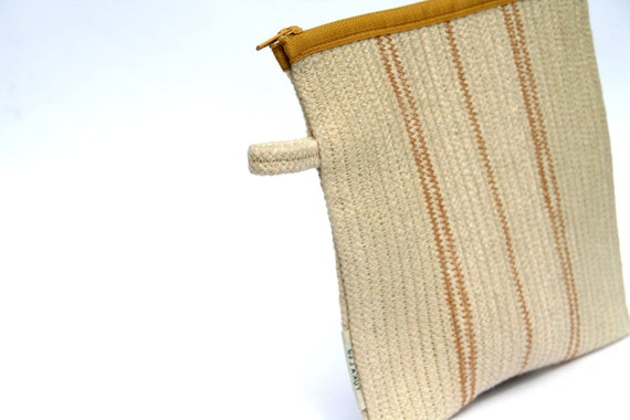 Cotton Cord Purse, Flat Handbag Camel and White, Zippered Pouch, Made to order