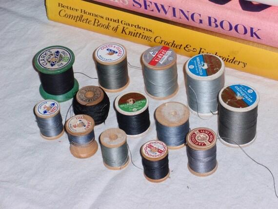 Wood Thread Spools Set of 13 Black Gray SS-8
