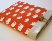 Handcrafted Linen iPad Sleeve with Elephants - BROWN ONLY