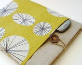 Abstract Retro Print iPad Cover iPad Case iPad Sleeve  in Golden Yellow Linen