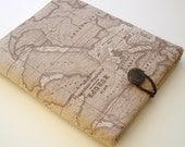 "Macbook 11"" sleeve in World Map Printed Linen"