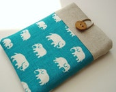 Kindle Cover Padded Kindle 4 Kindle Touch Sleeve - Turquoise Elephants