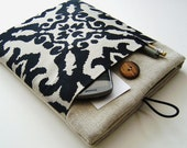 Linen iPad Case with Black and Cream Damask Pocket
