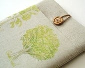 iPad Case Padded iPad Cover with Pocket in Woodland Trees Linen