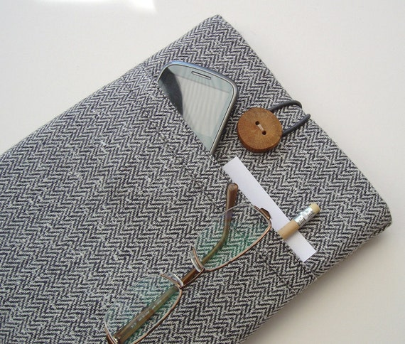 iPad Case in Echo-Friendly Grey Herringbone Tweed with Pocket and Wooden Button