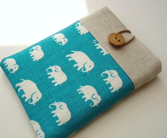 Cute Kindle Cover Kindle Case Cute Kindle Sleeve - Elephants on Turquoise Pure Linen