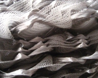 5YARDS ROLL of pearl grey antique raffia  and ryon trim