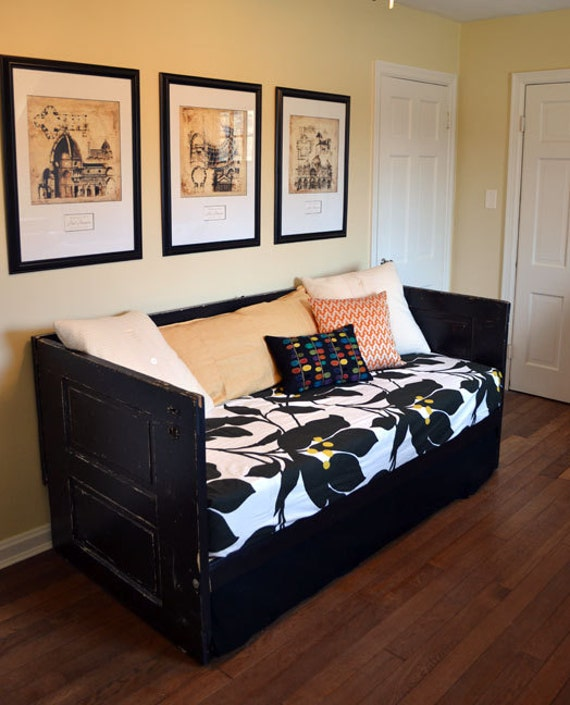 Make A Single Bedroom Special With A Super Stylish: Painted Black Salvaged Doors Daybed Upcycled Shabby Chic