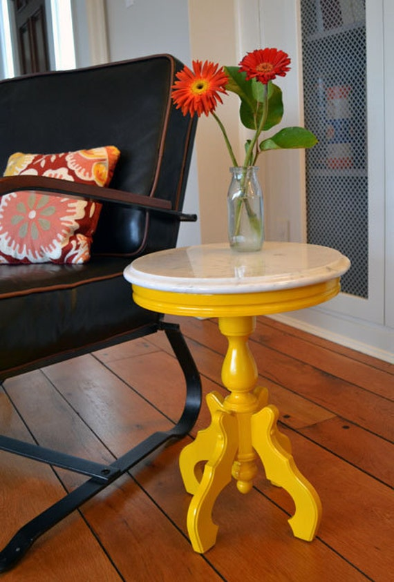 small painted yellow marble top round side table revived. Black Bedroom Furniture Sets. Home Design Ideas