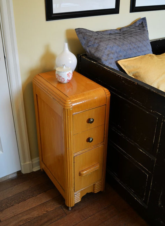 Painted Golden Yellow Art Deco Side / End Table / Nightstand
