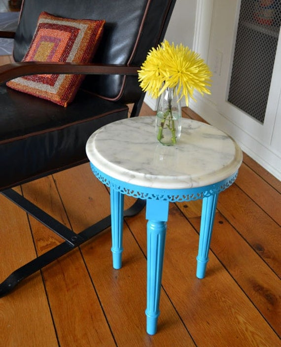 Marble Top Side Table - Painted Turquoise - Revived Vintage