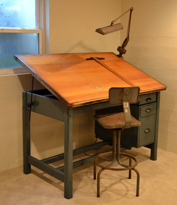 Industrial Tilt Top Drafting Desk Drawing Table Painted Grey