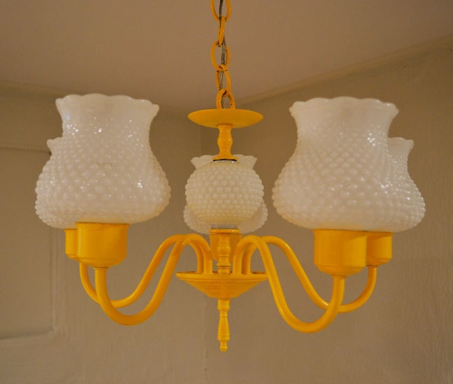 Painted Yellow Milk Glass Chandelier Vintage by dwellbeing