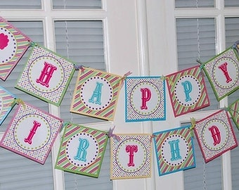 Carnival Happy Birthday Banner | Printable | Instant Download | Cotton Candy | Circus