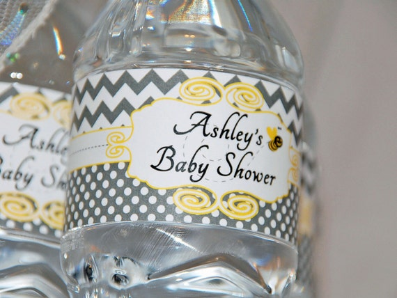 Bumble Bee Baby Shower Water Bottle Labels - Printable | Customized