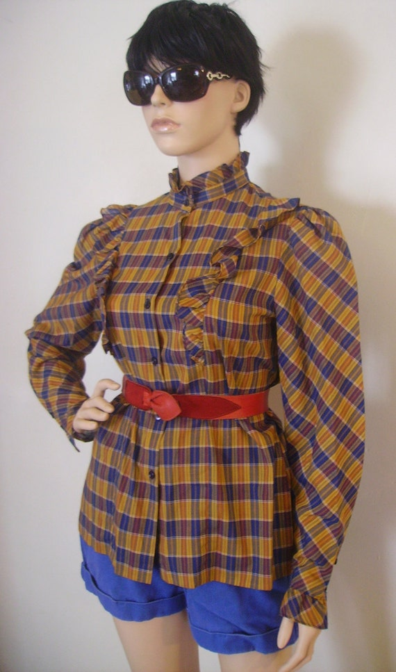 Womans 70s 80s Vintage Indie Prairie Boho Blouse with Ruffles and Puff Sleeve Plaid Western Shirt Rockabilly Cowgirl Top