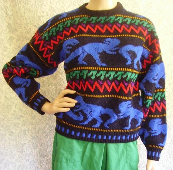 Vintage 80s Sweater Small Vintage Sweater Small Dinosaur