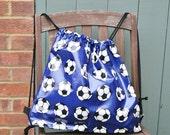 Fantastic football oilcloth backpack / kitbag / school bag - Hand Made in England