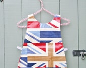 Gorgeous Union Jack Print Oilcloth Children's Tabard / Apron - Hand Made in England