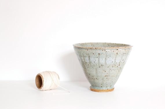 Vintage Blue-Green Handmade Pottery Vase/Pot