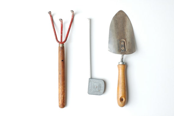 Three Vintage Garden- Garage Tools... a collection, a set, rustic goods