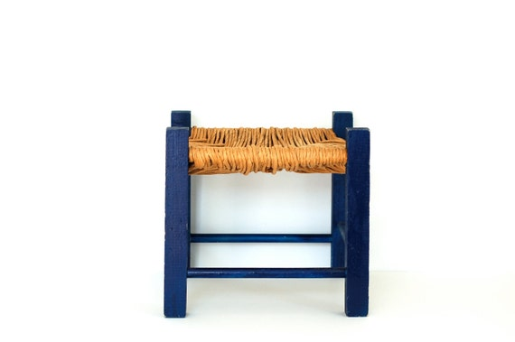 Cute Blue Stool with Natural Woven Top