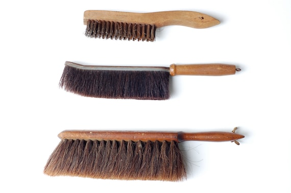 Rustic Set of Three Large Hand Brushes with Wood Handles