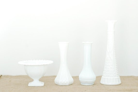 Instant Collection of 4 Milkglass White Vases