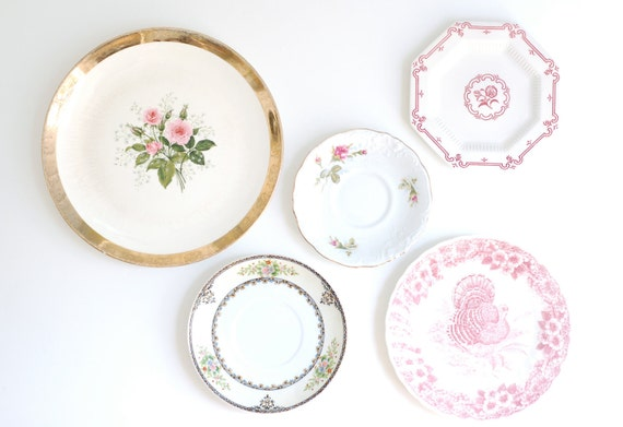 Instant Collection of 5 Vintage Plates in Pinks-Floral-Roses