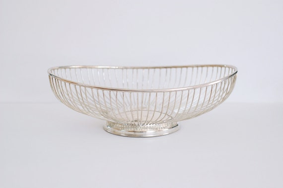 RESERVED FOR ALEXANDRA Large Vintage Silver Plated Metal Basket