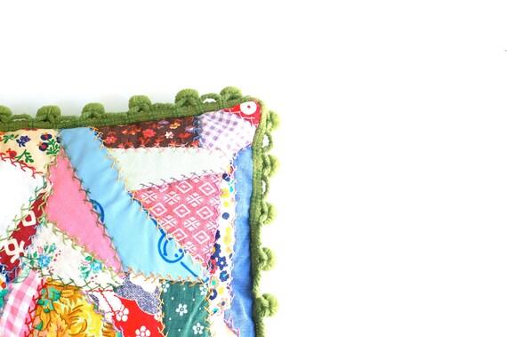 Vintage Handmade Crazy Quilt Throw Pillow