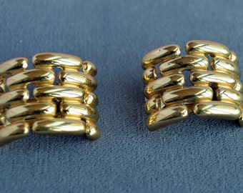 Incredible 1980's Vintage GIVENCHY Earrings 18k Gold Plate Chain Link Signed Clip