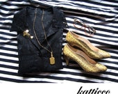 upcycled burnout black line button up with gold studs M L