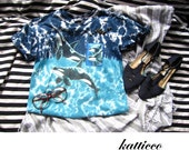 upcycled tie dye killer whale studded tee XS
