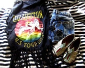 upcycled Led Zeppelin cut off sleeves FRINGE and studs tank M L XL