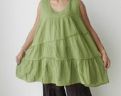 Ladies Light Green Blouse ,Bohemian Chic Patch Work Tops ,Unique, 100% Cotton. Light and Airy.
