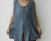 SALE 20% Off Ladies Blouse Blue Grey Bohemian Chic Tops ,Unique,Cotton. Light and Airy.