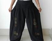 SALE 20 % Off Black Harem Pleated Pant,Cotton Unique Design Lined .