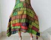Hippie Dress Patchwork,Tunic Unique,Boho Style 100% Cotton Stone Washed.