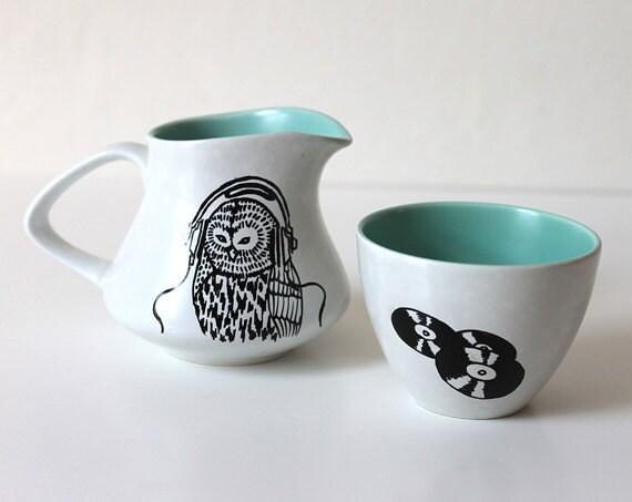 DJ Barn Owl milk jug and sugar bowl