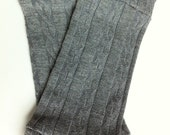 Grey Cable Knit Legwarmers - Unisex - Size 6-24 months - READY TO SHIP