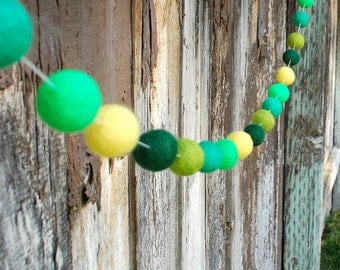 St. Patrick's Day Felt Ball Garland, Pom Pom Garland, Bunting Banner, Party Decor, Baby Shower