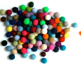 IRREGULAR felt balls, mixed colors, Pom Pom, felt balls