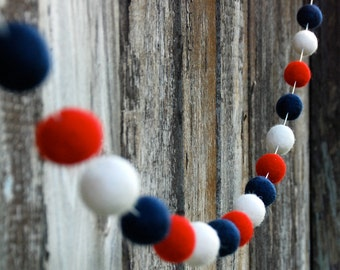 4th of July  Felt Ball Garland, Pom Pom Garland, Patriotic Decor, Bunting Banner, Party Decor