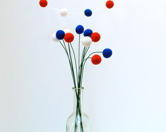 Fourth of July Decoration - Billy Ball Flowers/ set of 12, 18 inches/ Felt Balls