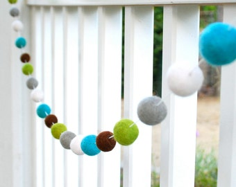 Boys Nursery Felt Ball Garland, Pom Pom Garland, Nursery Decor, Bunting Banner, Party Decor, Baby Shower